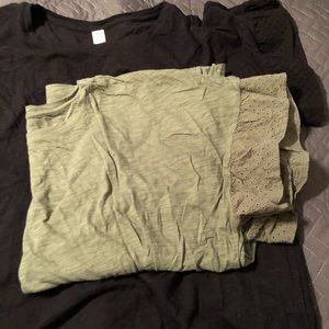 olive green and black eyelet trimmed t-shirts